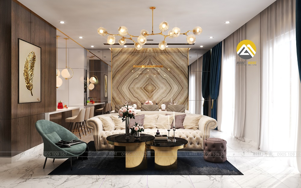 Thiết kế nội thất phòng khách tinh tế sang trọng