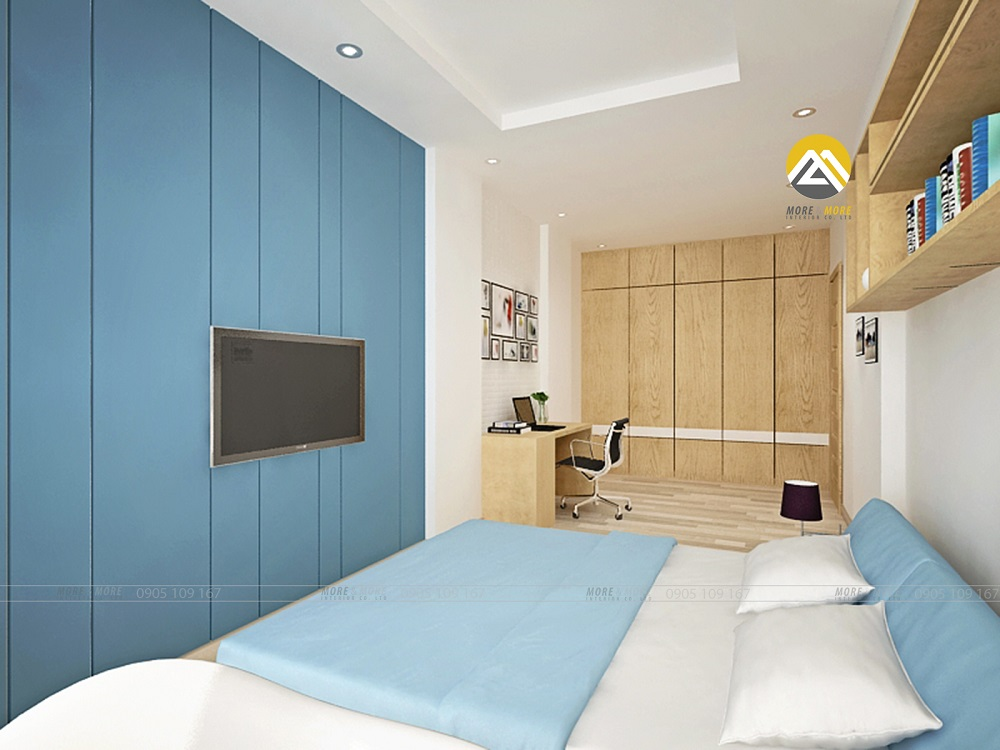 Thiết kế nội thất phòng ngủ tông màu xanh ngọc