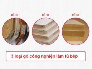 MFC, MDF HDF sử dụng làm tủ bếp gỗ công nghiệp