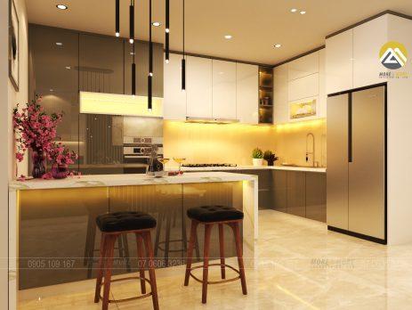 Tủ Bếp MDF chống ẩm phủ Acrylic kèm bếp đảo