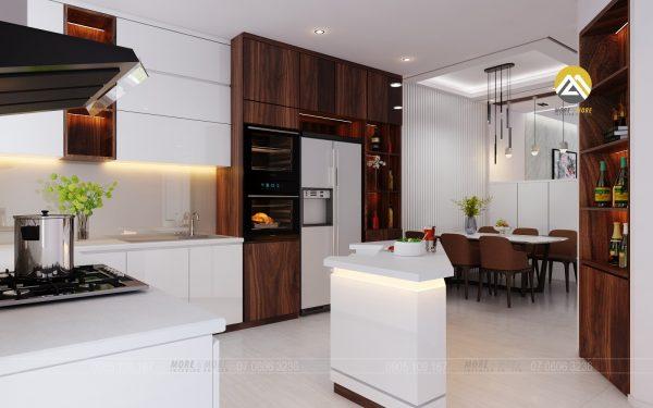Tủ Bếp MDF Chống Ẩm Phủ Melamine Kết Hợp Bàn Đảo Trắng