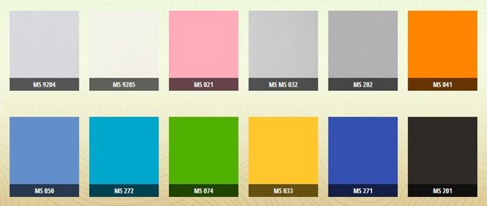 Bảng màu MDF chống ẩm phủ sơn 2k