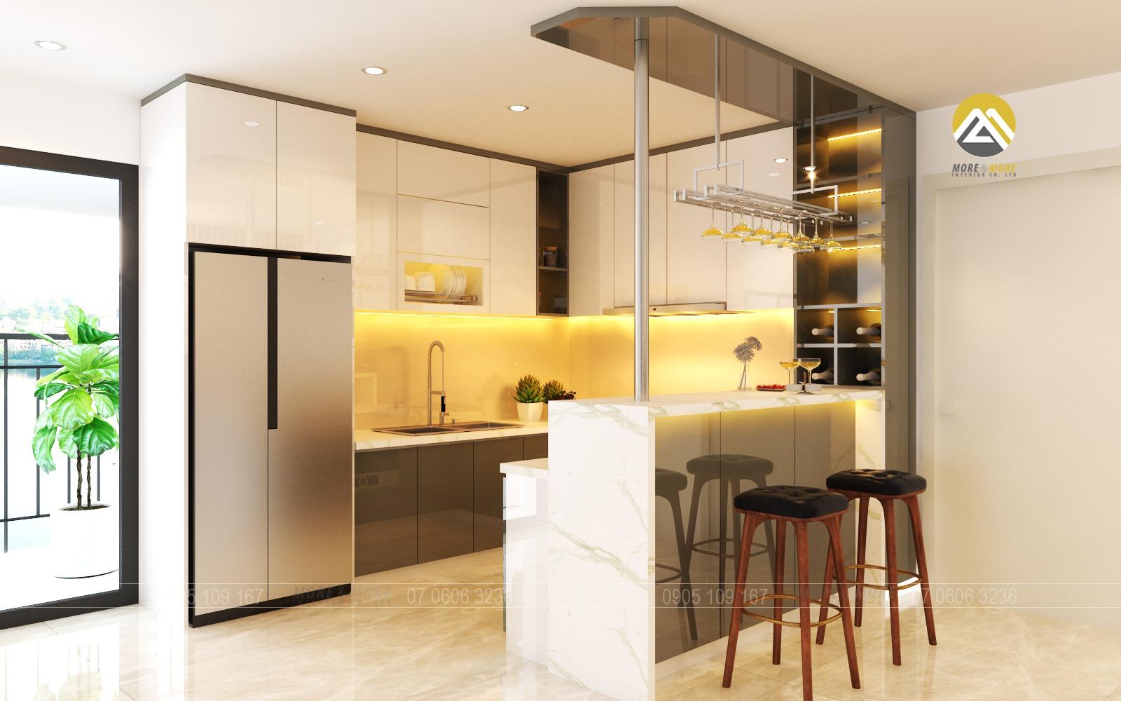 Tủ Bếp MDF chống ẩm phủ Acrylic kèm quầy bar