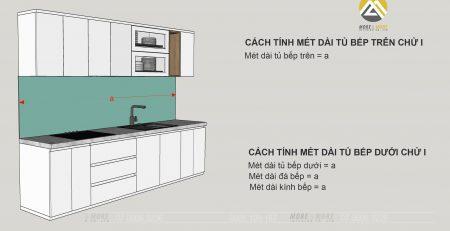 Cách tính chiều dài tủ bếp hình chữ i