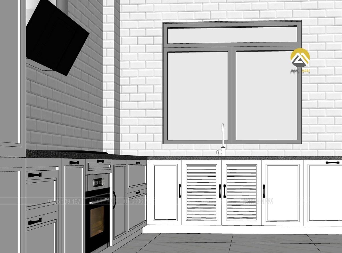 Thiết kế tủ bếp MDF lõi xanh chống ẩm phủ sơn 2k