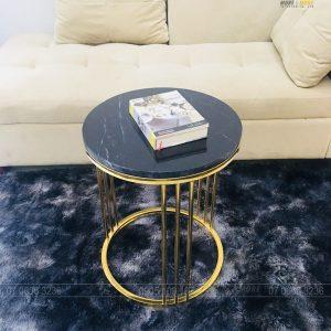 Tab Bàn Trà Luxury Inox 304 Mạ PVD Mặt Đá Mable Đen Tia Chớp