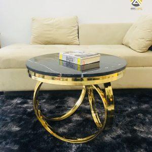 Bàn Trà Luxury Inox 304 Mạ Vàng PVD Mặt Đá Maple Đen Tia Chớp