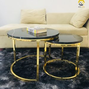 Bàn Trà Luxury Inox 304 Mạ PVD Mặt Đá Mable Mẹ Bồng Con