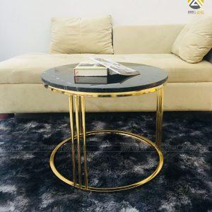 Bàn Trà Luxury Inox 304 Mạ PVD Mặt Đá Mable Đen Tia Chớp Đơn
