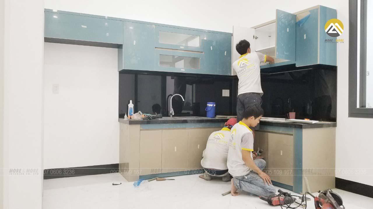Thi Công Tủ Bếp MDF Lõi Xanh Phủ Acrylic Tại An Lạc Bình Tân