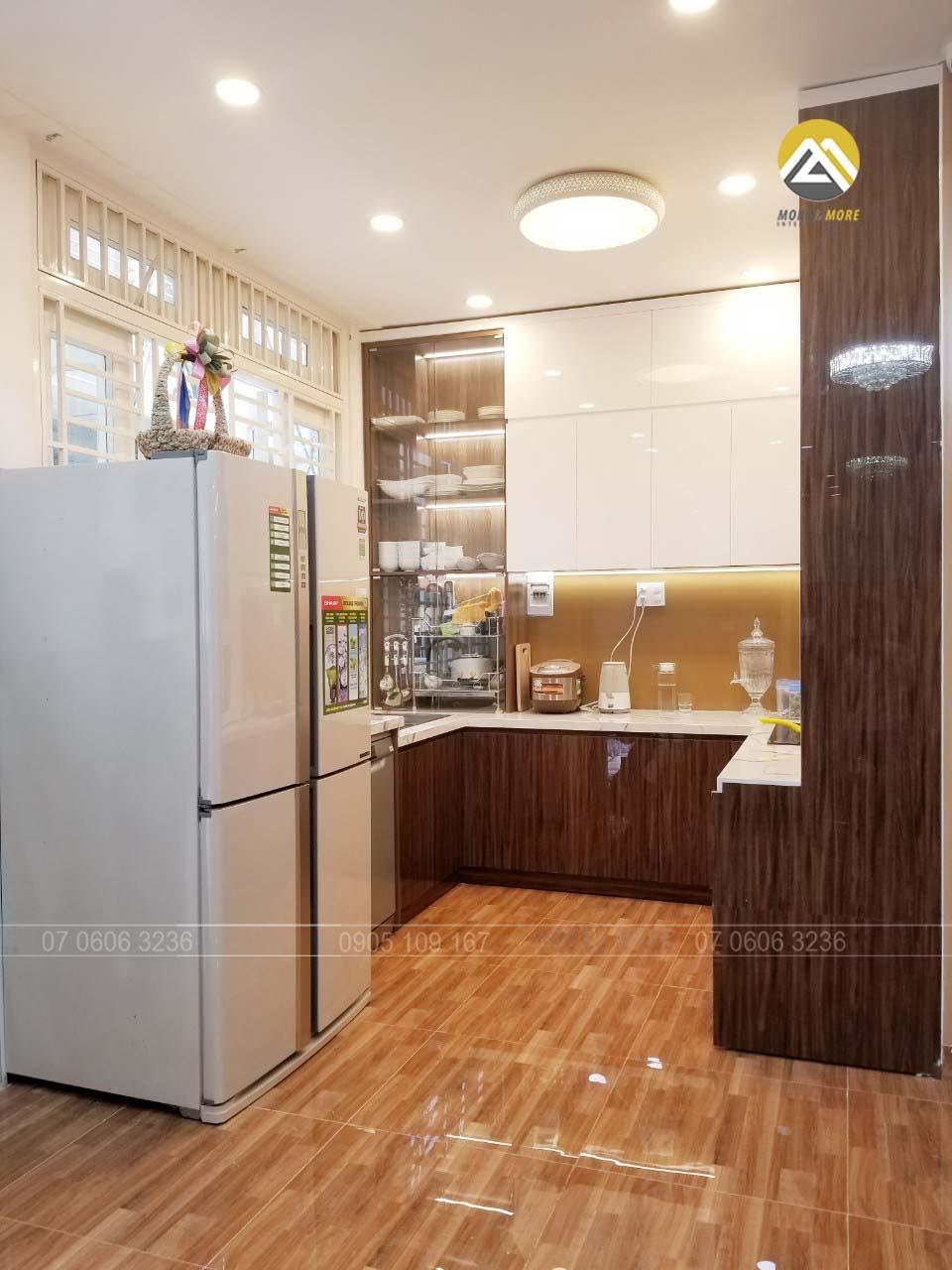 Tủ Bếp MDF Lõi Xanh Phủ Acrylic Tại Trương Phước Sang, Tân Bình
