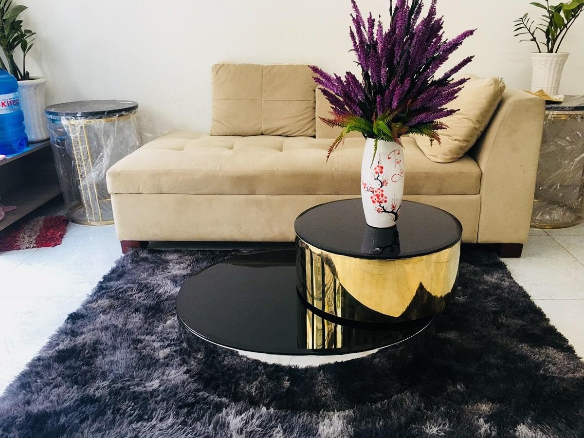 Bàn Trà Luxury Mạ Vàng PVD Mặt Kình Đen Xoay Thông Minh