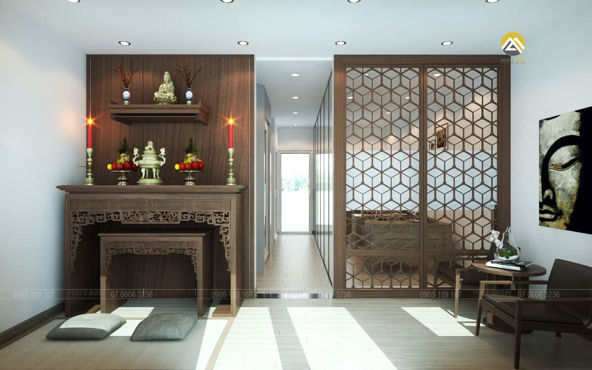 Thiết kế nội thất phòng thờ biệt thự Lakeview Quận 2